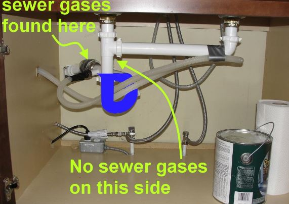 Sewer gases leaking back to dishwasher